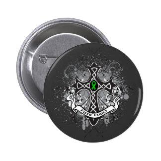 Faith Family Prayer Cross (Green)  - Kidney Cancer Button