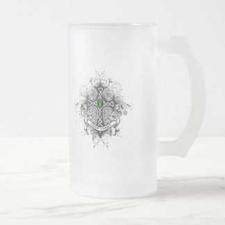 Faith Family Prayer Cross (Green)  - Kidney Cancer 16 Oz Frosted Glass Beer Mug