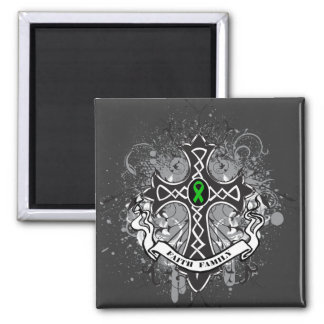 Faith Family Prayer Cross (Green)  - Kidney Cancer Square Magnet