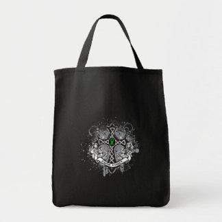 Faith Family Prayer Cross (Green)  - Kidney Cancer Canvas Bags