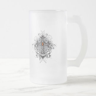 Faith Family Prayer Cross - Leukemia Frosted Glass Beer Mug