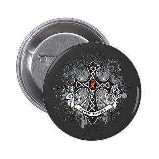 Faith Family Prayer Cross (Orange) - Kidney Cancer 6 Cm Round Badge