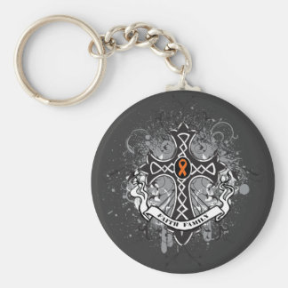 Faith Family Prayer Cross (Orange) - Kidney Cancer Basic Round Button Key Ring