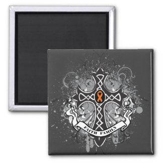 Faith Family Prayer Cross (Orange) - Kidney Cancer Square Magnet