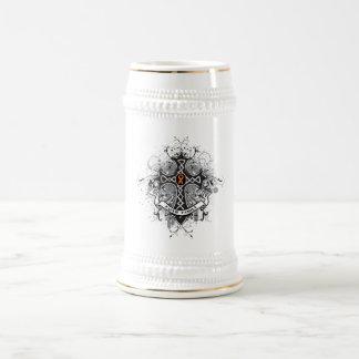 Faith Family Prayer Cross (Orange) - Kidney Cancer 18 Oz Beer Stein