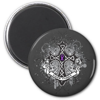 Faith Family Prayer Cross - Pancreatic Cancer 6 Cm Round Magnet