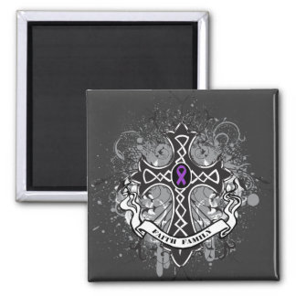 Faith Family Prayer Cross - Pancreatic Cancer Square Magnet