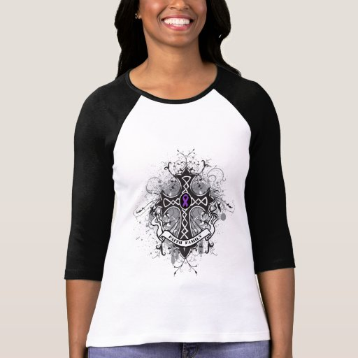 Faith Family Prayer Cross - Pancreatic Cancer T Shirts