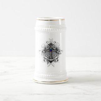 Faith Family Prayer Cross - Thyroid Cancer Beer Steins
