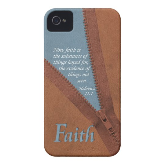 FAITH Hebrews 11:1 Bible Verse - Brown/Blue Zipper