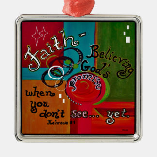 Faith Hebrews 11 Silver-Colored Square Decoration