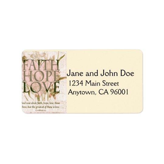 Faith, Hope and Love Address Label