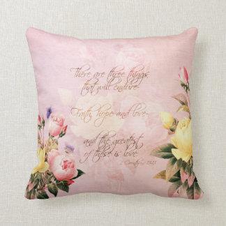 Faith Hope and Love Roses Cushion