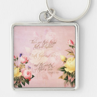 Faith Hope and Love Roses Key Ring