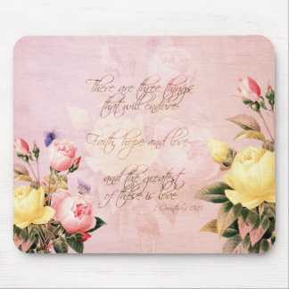 Faith Hope and Love Roses Mouse Mat