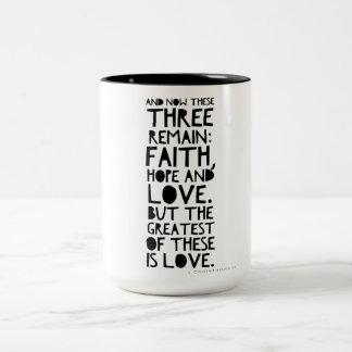 Faith, hope, and love Two-Tone coffee mug