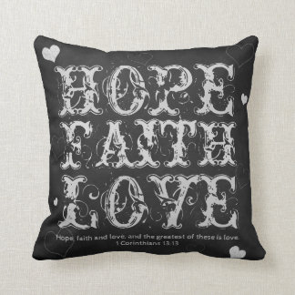 Faith, Hope and Love Vintage Chalkboard Cushion
