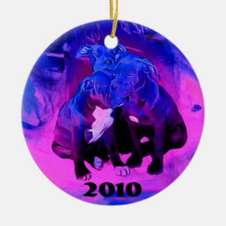 Faith Hope & Charity, Abused Pit Bull Dogs Christmas Ornament