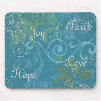 Faith, Hope, Joy, Love Mouse Pad