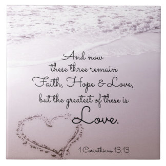 Faith Hope Love, 1 Corinthians 13:13, Ocean Beach Large Square Tile
