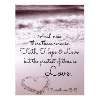 Faith Hope Love, 1 Corinthians 13:13, Ocean Beach Postcard