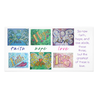 Faith Hope Love Angel Word Art Collage Photo Card