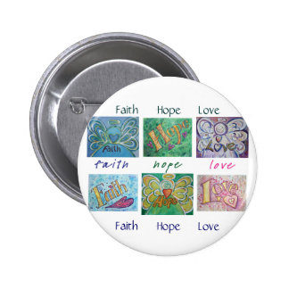 Faith Hope Love Angel Word Collage Button or Pin