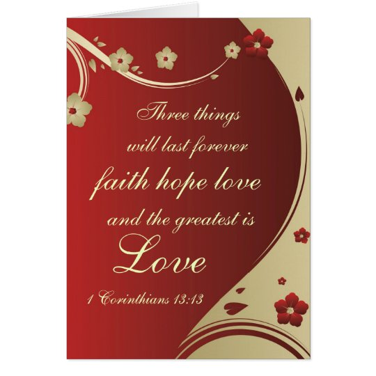Faith Hope Love Bible Verse Customised Card
