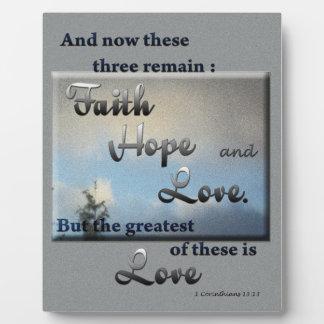 Faith Hope Love Bible Verse Plaque