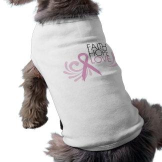 Faith, Hope, Love - Breast Cancer Support Sleeveless Dog Shirt