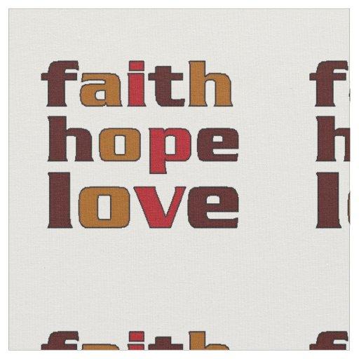 Faith Hope Love Browns Fabric