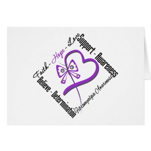 Faith Hope Love Butterfly - Fibromyalgia Awareness Greeting Card