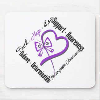 Faith Hope Love Butterfly - Fibromyalgia Awareness Mouse Pad