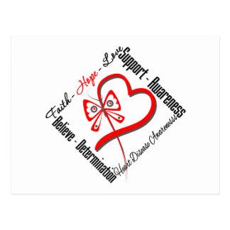 Faith Hope Love Butterfly - Heart Disease Postcard