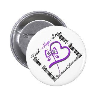 Faith Hope Love Butterfly - Sarcoidosis Awareness 6 Cm Round Badge