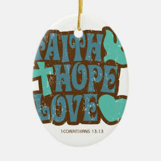faith hope love ceramic oval decoration