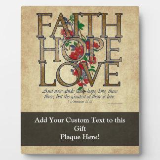 Faith Hope Love Christian Bible Verse Plaque