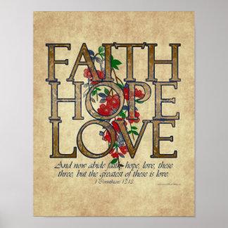 Faith Hope Love Christian Bible Verse Poster