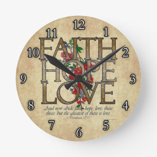 Faith Hope Love Christian Bible Verse Round Clock
