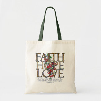 Faith Hope Love Christian Bible Verse Tote Bag