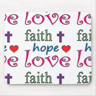 Faith Hope Love Cross Heart Mouse Pad