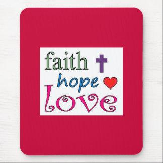 Faith Hope Love Cross Heart Mousepads