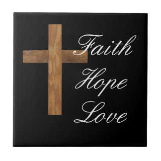 Faith Hope Love Cross Tile