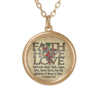 Faith Hope Love Elegant Bible Scripture Christian Round Pendant Necklace