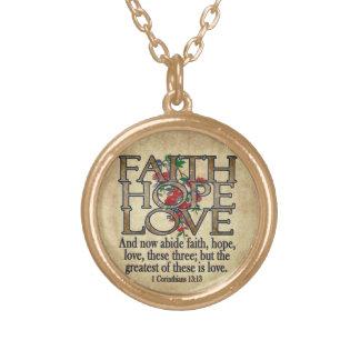 Faith Hope Love Elegant Bible Scripture Christian Round Pendant Necklace