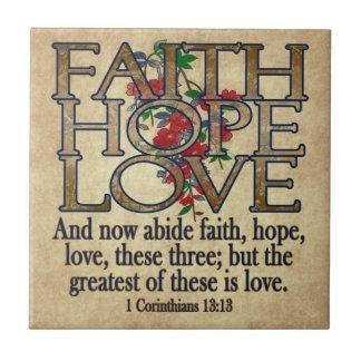 Faith Hope Love Elegant Bible Scripture Christian Small Square Tile