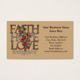 Faith Hope Love, Floral Design With Bible Verse Business Card