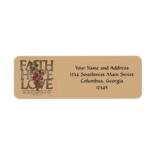 Faith Hope Love, Floral Design With Bible Verse Return Address Label