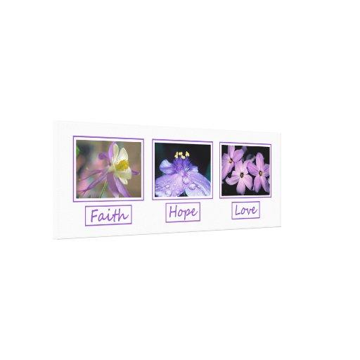 Faith Hope Love Flowers Wrapped Canvas Print