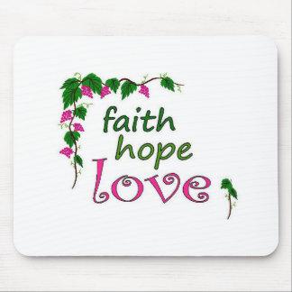 Faith Hope Love Grapevine Mousepads